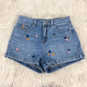 Pacsun High Waisted Floral Embroidered Mom Shorts